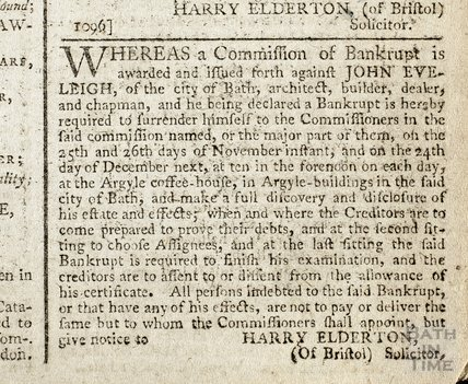 Bankruptcy of John Eveleigh, 14 Nov 1793
