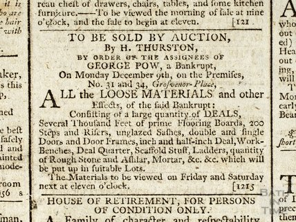 Auction of building materials of bankrupt George Pow, 5 Dec 1793