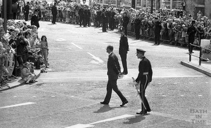 Queen Elizabeth and Prince Philip during their visit to Bath for Monarchy 1000, August 9th 1973