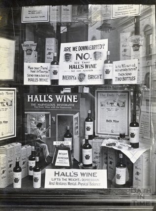 Window display for Hall's Wine, possibly in Huntley's New Bond Street? c.1930s