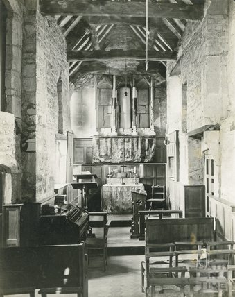 Interior of the small church at Chapel Plaister, near Box, Wiltshire, c.1920s