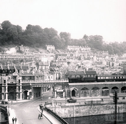 View across the Old Bridge towards Holloway, summer c.1950s
