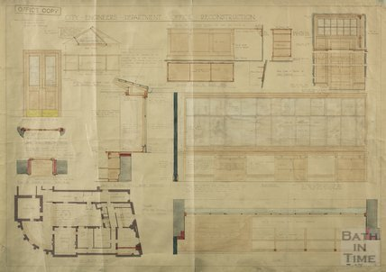 City Engineer's Office reconstruction, south wing of Guildhall - plan, section and interior details - FP Sissons 1928