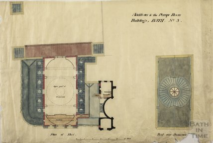 Additions to the Pump Room buildings no.3 - plan of roof & roof over promenade , Concert Hall - , Charles E Davis c.1870s