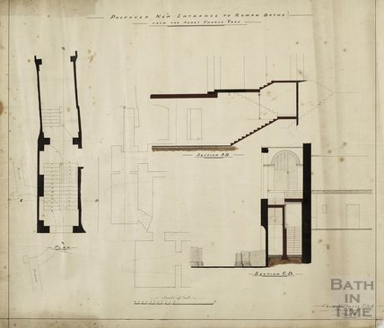 Proposed new entrance to Roman Baths from the Abbey Church Yard - plan, sections - Charles E Davis