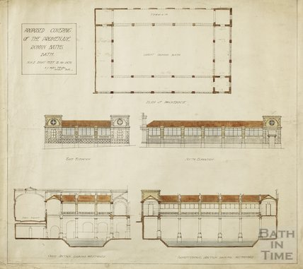 Proposed covering of the promenade at the Roman Baths - plan, elevations, cross section, longitudinal section - A J Taylor c.1930s
