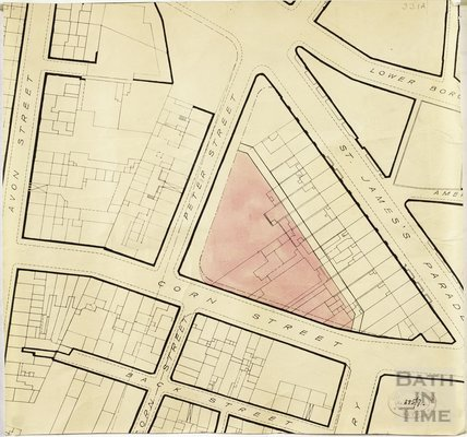 RNHRD - street block plan with proposed new location between Corn Street, Peter Street and St James's Parade highlighted c.1938