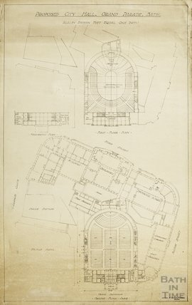 Proposed City Concert Hall, Grand Parade - ground, mezzanine & first floor plans , Guildhall Market - A J Taylor c.1930s?