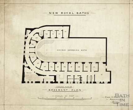 The New Royal Baths - basement plan - Charles E Davis