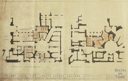 Pump Room - sketch scheme for new lavatories , scheme 1 - ground floor & first floor - AJ Taylor & Partners 12 Feb 1946