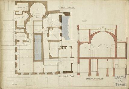 Turkish Baths - basement plan and section - Charles E Davis November 1877