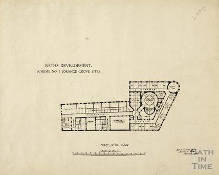 Baths development - Scheme no.1, Orange Grove site, first floor plan - A J Taylor February 1914