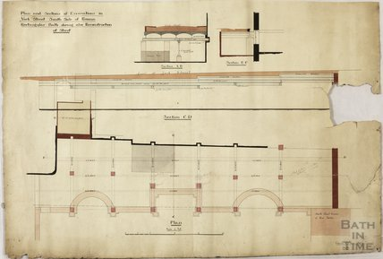 Plan and section of excavations in York Street - south side of Roman Rectangular Bath showing reconstruction of street - Charles E Davis , 1890s?