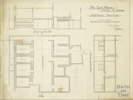 The Red House, Bond Street - bake house, stores etc. - sections and plan - AJ Taylor June 1902