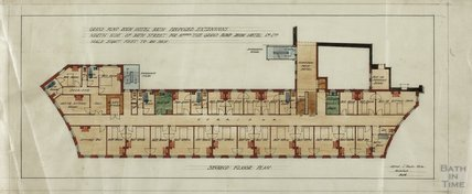 Grand Pump Room Hotel proposed extensions north side Bath Street - 2nd floor plan - AJ Taylor c.1920s?