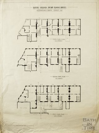 Grand Pump Room Hotel - alterations to Bath Street - 1st to 3rd floor plan as at present - Herbert W Matthews September 1925