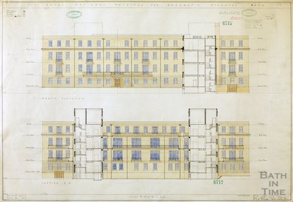 RNHRD , Mineral Water Hospital proposed new buildings - north elevation and section - 1034/53 - AJ Taylor and Adams Holden & Pearson, London January 1939