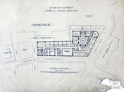 Baths development - Scheme no.1, Orange Grove site, ground floor plan - A J Taylor February 1914