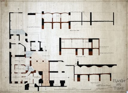 Plan of proposed alterations to basement level of Pump Room building - Vapour Baths - Charles E Davis August 1894