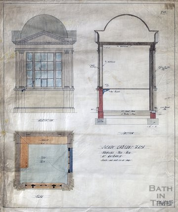 Sydney Gardens - no.45 - proposed pay box at entrance - plan, section & elevation - AJ Taylor March 1914