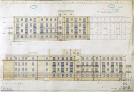 RNHRD , Mineral Water Hospital proposed new buildings - east and west elevations - 1034/54 - AJ Taylor and Adams Holden & Pearson, London January 1939