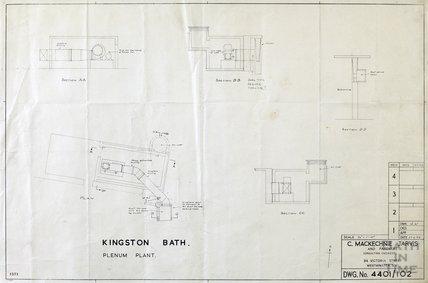 Kingston Bath - plenum plant - sections & plan - 4401/102 - , Gerrard Taylor & Partners June 1956