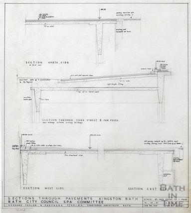 Kingston Bath - sections through pavements - Gerrard Taylor & Partners October 1957