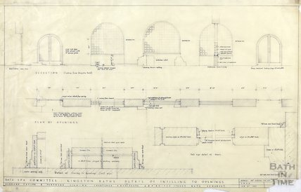 Kingston Bath - detail of infilling to openings - sections & plans - Gerrard Taylor & Partners April 1956