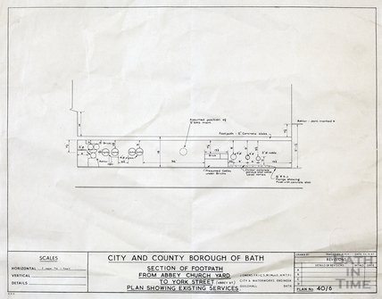 Section of footpath from Abbey Churchyard to York Street - plan showing existing services - 40/6 March 1957
