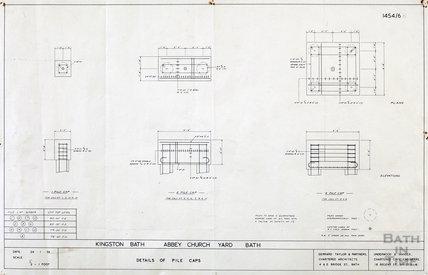 Kingston Bath - detail of pile caps - plans & elevations - 1454/6 - Gerrard Taylor & partners January 1956
