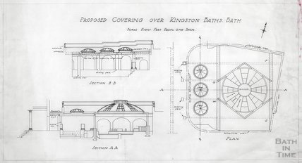 Kingston Bath - proposed covering - sections & plan - , Gerrard Taylor & Partners c.1955?