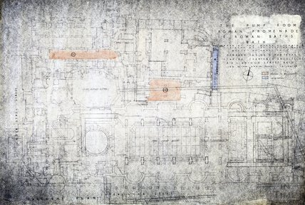 Pump Room, Roman Promenade and Roman Baths - basement plan - 1939/3 - Gerrard Taylor & Partners January 1955