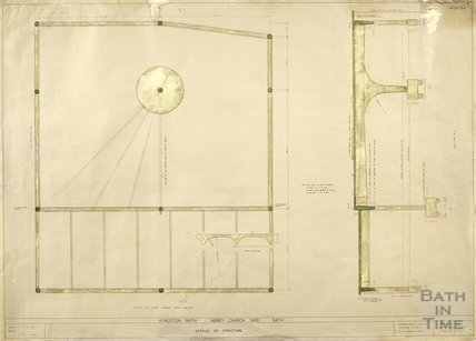 Kingston Bath - detail of structure - plan of roof, section A-A - 1454/5a - Gerrard Taylor & Partners November 1955