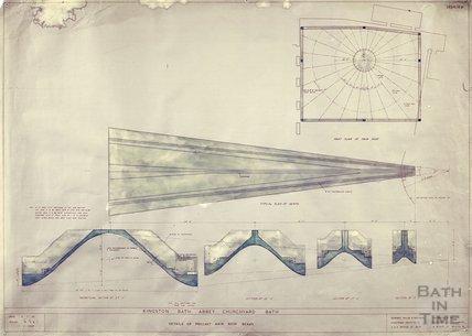 Kingston Bath - details of pre-cast main roof beams - plans & sections - 1454/4b - Gerrard Taylor & Partners July 1955
