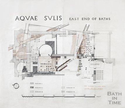 Roman Baths - east end of Baths - plans of Roman remains , c.1900?