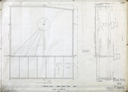 Kingston Bath - detail of structure - plan of roof, section A-A - 1454/5c - Gerrard Taylor & Partners November 1955