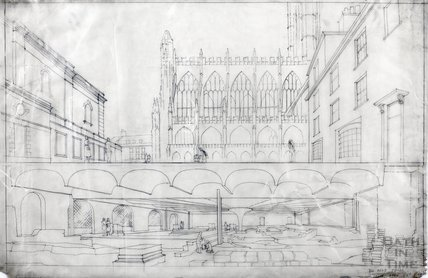 Kingston Bath - artist's impression of roof over baths & Kingston Parade c.1950s?