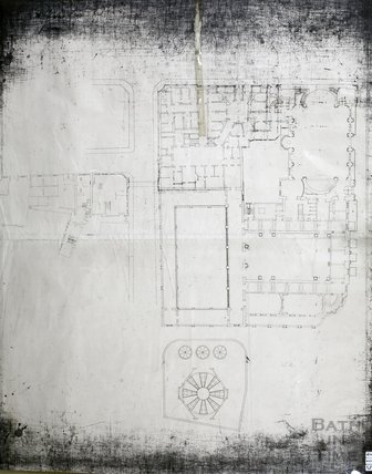 Pump Room - Roman promenade and Roman Baths - ground floor plan - Gerrard Taylor & Partners c.1955?