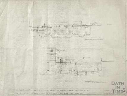 Kingston Baths - sections N-S & E-W of existing roof - Gerrard Taylor & Partners April 1955