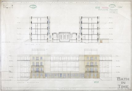 RNHRD , Mineral Water Hospital proposed new buildings - section and south elevation - 1034/55 - AJ Taylor and Adams Holden & Pearson, London January 1939
