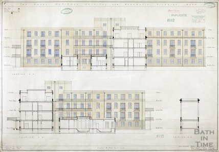 RNHRD, Mineral Water Hospital proposed new buildings - sections - 1034/56 - AJ Taylor and Adams Holden & Pearson, London January 1939