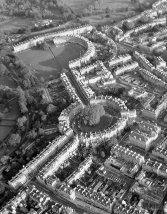 c.1980s Aerial view of The Royal Crescent, Circus and Gay Street