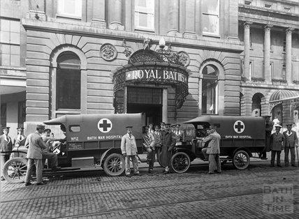 Two ambulances outside the New Royal Baths, Stall Street, Bath