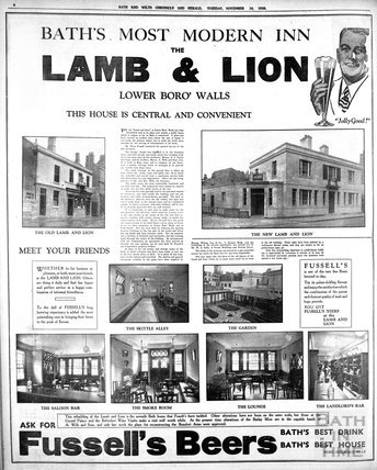 Bath's most modern Inn, the Lamb and Lion 1936