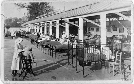 Children taking in some sun at the Bath Somerset & Wiltshire Central Children's Orthopaedic Hospital, Combe Park, Bath c.1920s