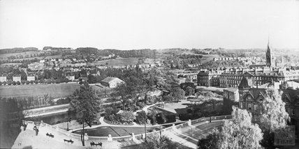 View over Institution Gardens towards the Recreation Ground, c.1910