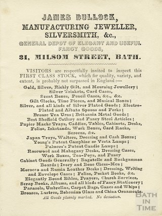 Advertisement for James Bullock, manufacturing jeweller, silversmith etc., Bath, 1854