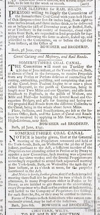 Various newspaper announcements relating to the Somersetshire Coal Canal, 1795