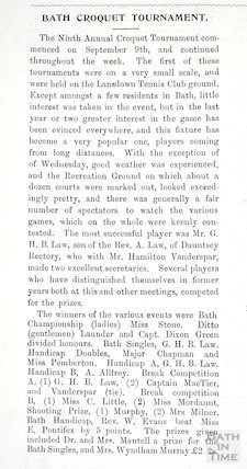 Report on the Ninth Annual Croquet Tournament on the Recreation Ground, Bath, September 1901