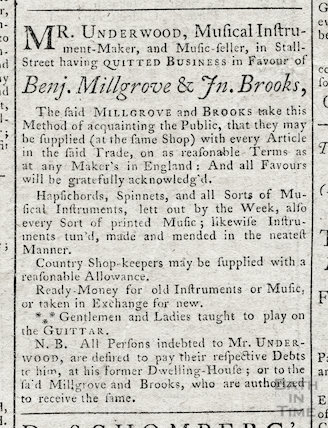 Notice from Mr Underwood, Musical Instrument Maker and Music seller, Bath, 1762